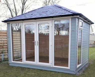 Hipped Garden Office 403 - Painted, Double Glazed, Insulated
