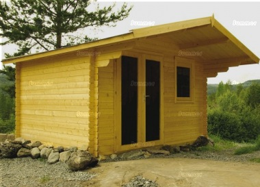 Apex Double Door 40mm Log Cabin 454 - Large Panes