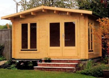 45mm Log Cabin 016 - Apex, Double Glazed, Large Panes