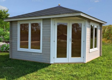 Corner Log Cabin 425 - 40mm, Double Glazed, Large Panes
