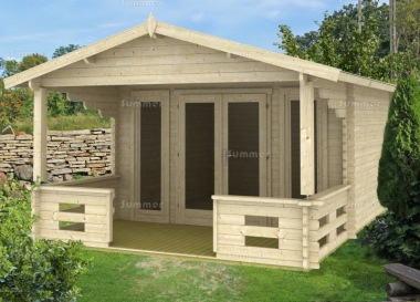 Double Door 40mm Apex Log Cabin 592 - Verandah, Double Glazed