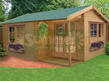 Shire Twyford Log Cabin - Integral Porch