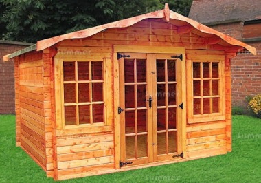 Georgian Apex Double Door 34mm Log Cabin 165