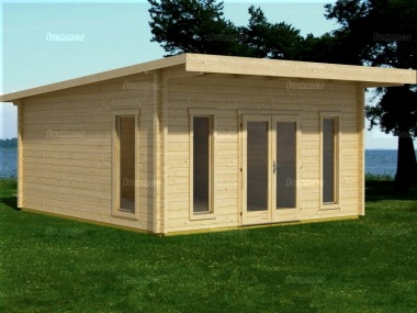 Pent Roof Log Cabin 533 - Double Glazed, Large Panes