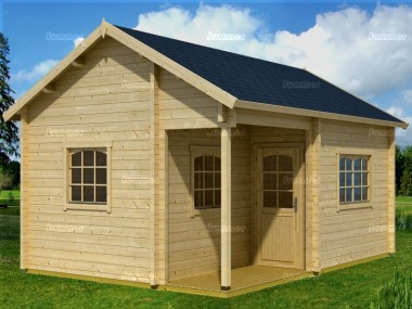 Two Room Apex Log Cabin 74 - Integral Porch, Double Glazed