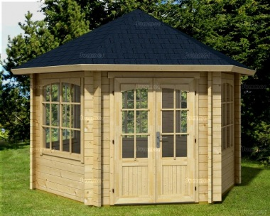 Hexagonal Double Door 45mm Log Cabin 96