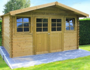 Apex 28mm Log Cabin 075 - Pressure Treated, Double Door