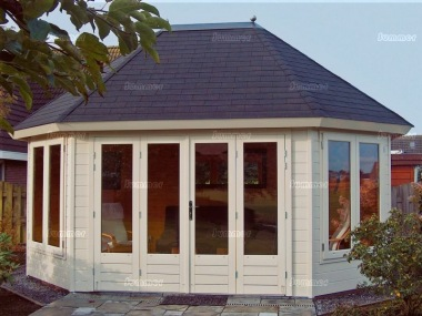 Folding Door 45mm Octagonal Log Cabin 211 - Large Panes