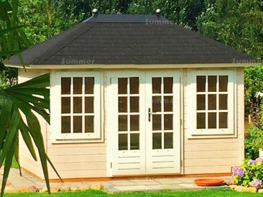 Hipped Roof Double Door Log Cabin 304 - 45mm, Bespoke
