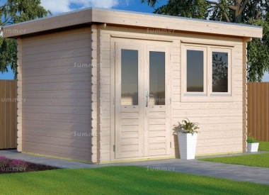 Double Door Pent Roof Log Cabin 657 - Double Glazed