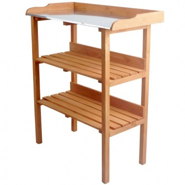 3 Tier Wooden Potting Bench 318 - Galvanized Steel Worktop