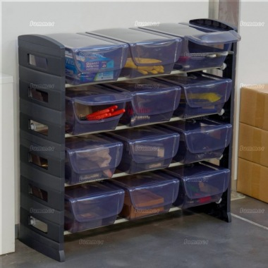 Boltless 4 tier plastic shelf unit, 12 storage bins