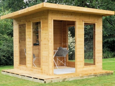Pent Summerhouse 338 - Shiplap, Folding Doors