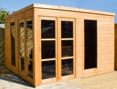 Pent Summerhouse 342 - Shiplap, Folding Doors