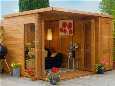 Two Room Pent Summerhouse 344 - Shiplap, Folding Doors