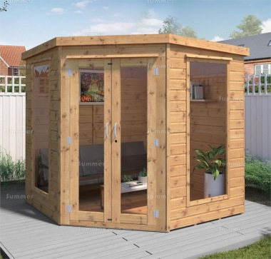 Corner Summerhouse 222 - Shiplap, Large Panes