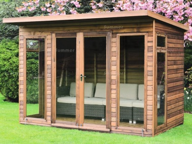 Pent Summerhouse 46 - Low Level Glazing, Double Door