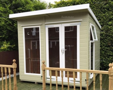 Pent Summerhouse 236 - Low Level Glazing, Double Door