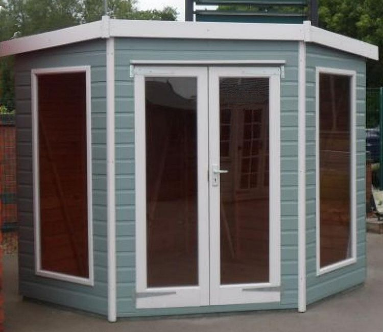 Corner Summerhouse 418 - Large Panes, Double Door